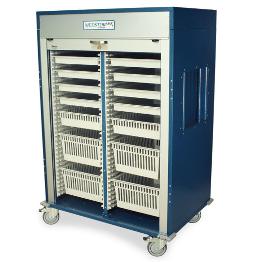 MSPM62-00TK Hammertone Blue Double Column Medical Storage Cabinet - Quarter Left Open