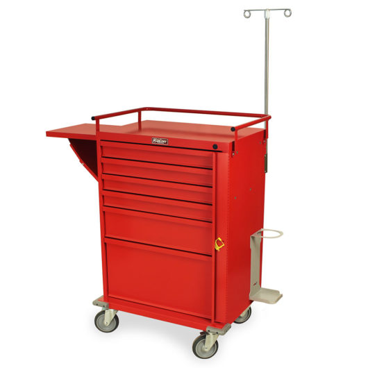 V30-6EMG Red V-Series Emergency Cart - Quarter Left