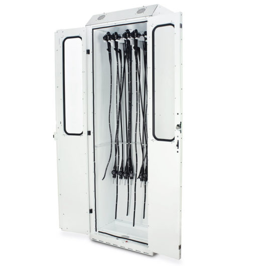 SC8030DRDP SureDry Medical Drying Cabinet White Quarter Left Open with Scopes