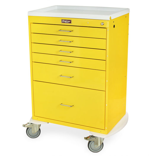 Infection Control Cart, Six Drawers, Key Lock, Yellow, 6450