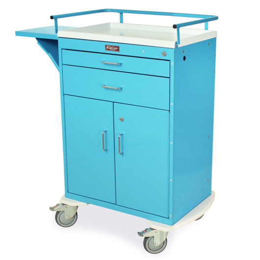Procedure Cart, Two Drawers, Key Lock with Doors, Light Blue, 6201