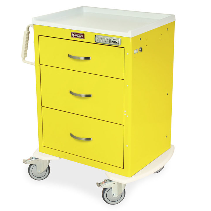 MDS2424E03 Yellow Isolation Cart Supplies - Quarter Left