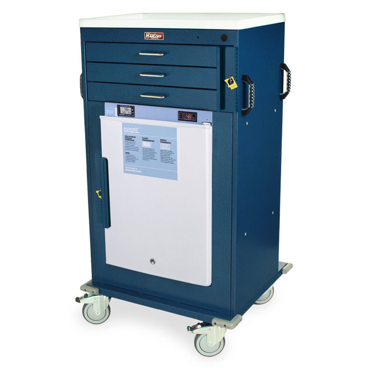 MH4300B-AC Hammertone Blue MH Cart with Accucold - Quarter Left